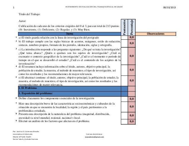 1 INSTRUMENTO DE EVALUACIÓN DEL TRABAJO ESPECIAL DE GRADO 08/10/2013 Autor: Ítems Observaciones 1 a) El titulo guarda rela...