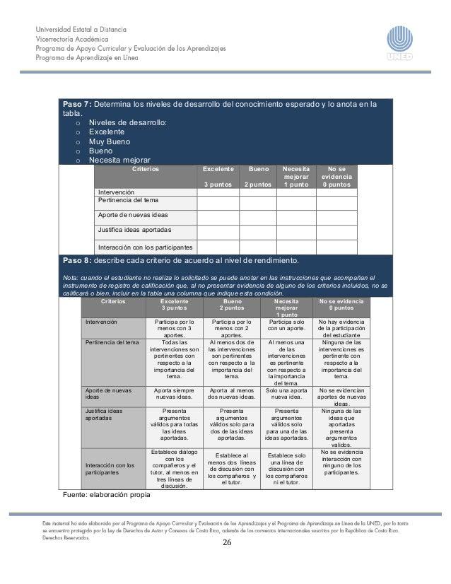26      Paso 7: Determina los niveles de desarrollo del conocimiento esperado y lo anota en l...