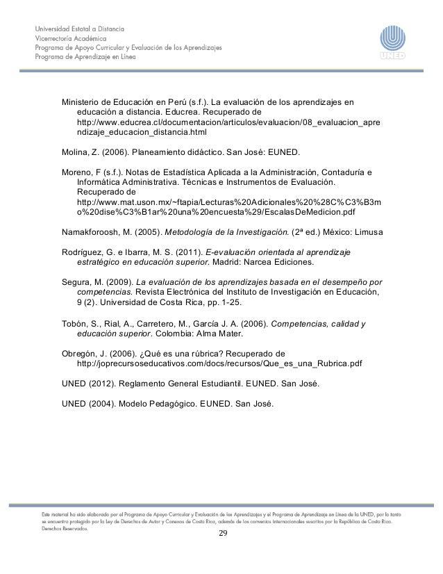 29    Ministerio de Educación en Perú (s.f.). La evaluación de los aprendizajes en educación a...