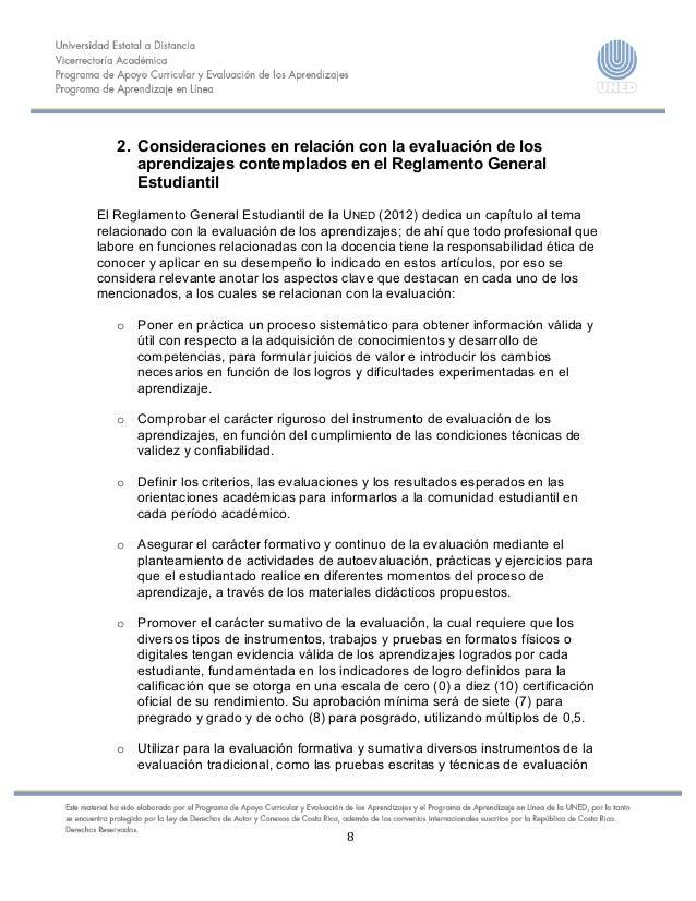 8    2. Consideraciones en relación con la evaluación de los aprendizajes contemplados en el R...