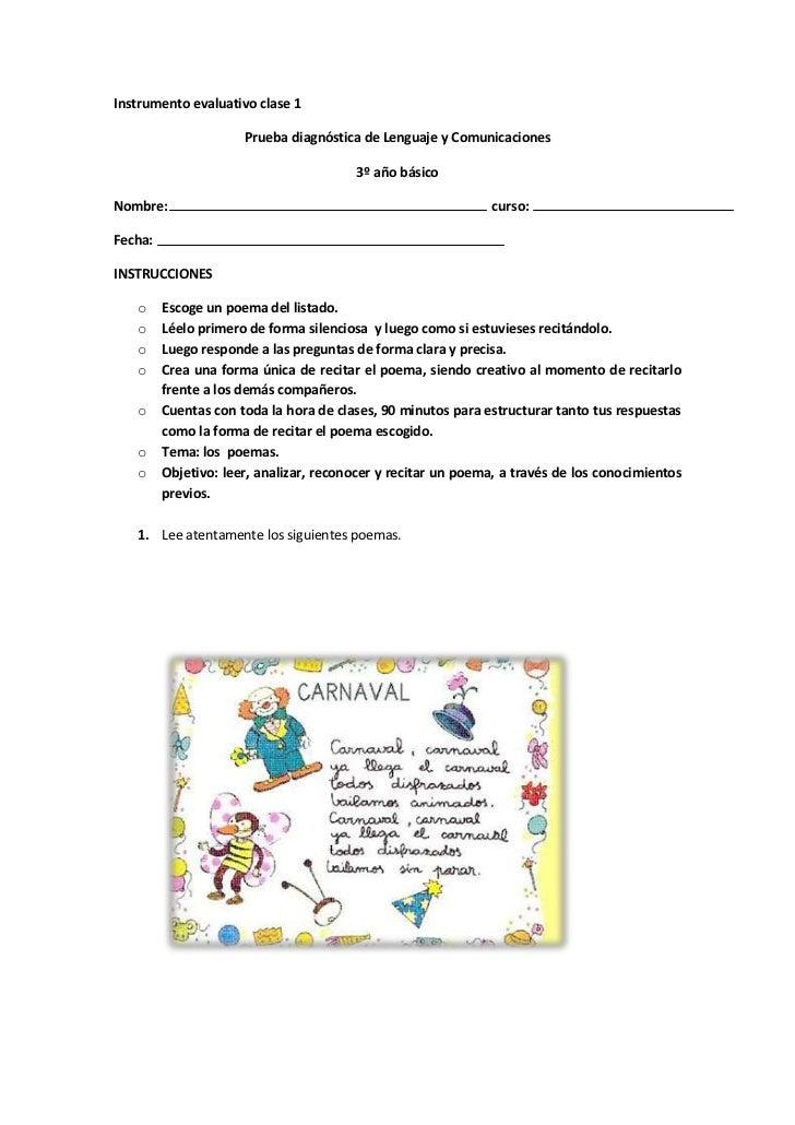 Instrumento evaluativo clase 1                      Prueba diagnóstica de Lenguaje y Comunicaciones                       ...