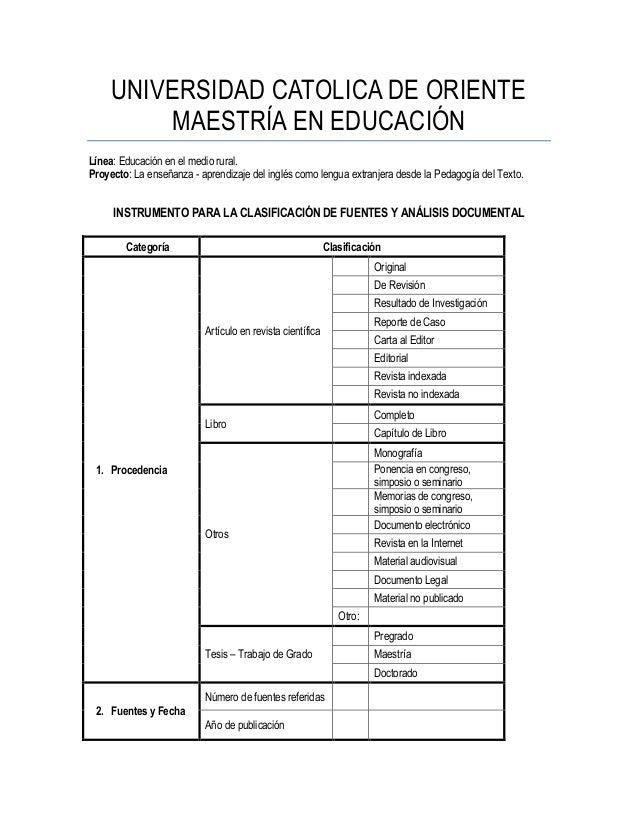 UNIVERSIDAD CATOLICA DE ORIENTE MAESTRÍA EN EDUCACIÓN Línea: Educación en el medio rural. Proyecto: La enseñanza - aprendi...