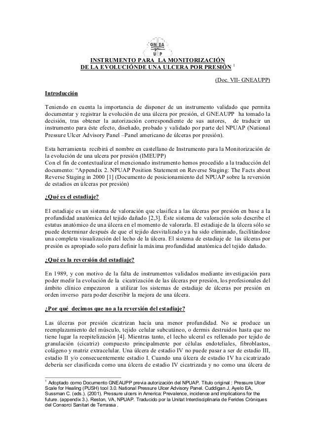 INSTRUMENTO PARA LA MONITORIZACIÓN  DE LA EVOLUCIÓNDE UNA ULCERA POR PRESIÓN 1  (Doc. VII- GNEAUPP)  Introducción  Teniend...