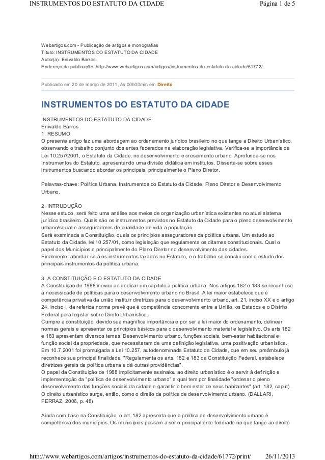 INSTRUMENTOS DO ESTATUTO DA CIDADE  Página 1 de 5  Webartigos.com - Publicação de artigos e monografias Título: INSTRUMENT...