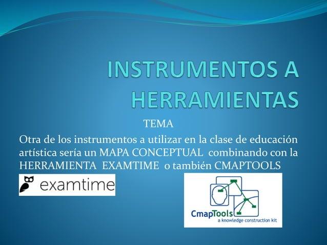 TEMA Otra de los instrumentos a utilizar en la clase de educación artística sería un MAPA CONCEPTUAL combinando con la HER...