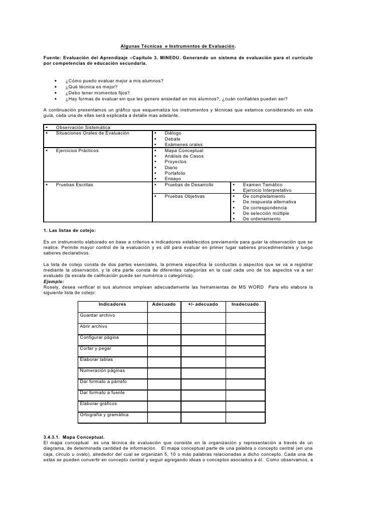 Algunas Técnicas e Instrumentos de Evaluación.Fuente: Evaluación del Aprendizaje –Capítulo 3. MINEDU. Generando un sistema...