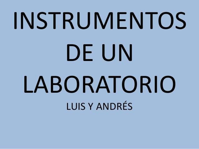 INSTRUMENTOS  DE UN  LABORATORIO  LUIS Y ANDRÉS