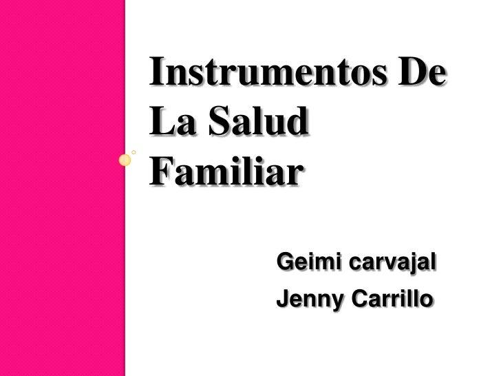 Instrumentos DeLa SaludFamiliar      Geimi carvajal      Jenny Carrillo