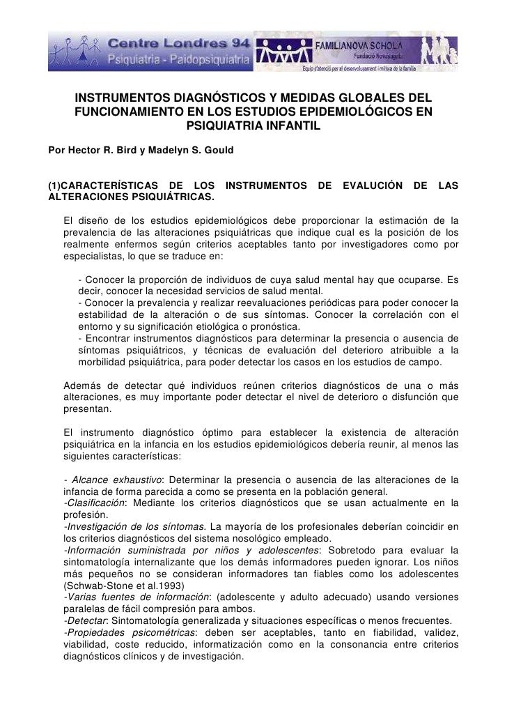 INSTRUMENTOS DIAGNÓSTICOS Y MEDIDAS GLOBALES DEL     FUNCIONAMIENTO EN LOS ESTUDIOS EPIDEMIOLÓGICOS EN                    ...
