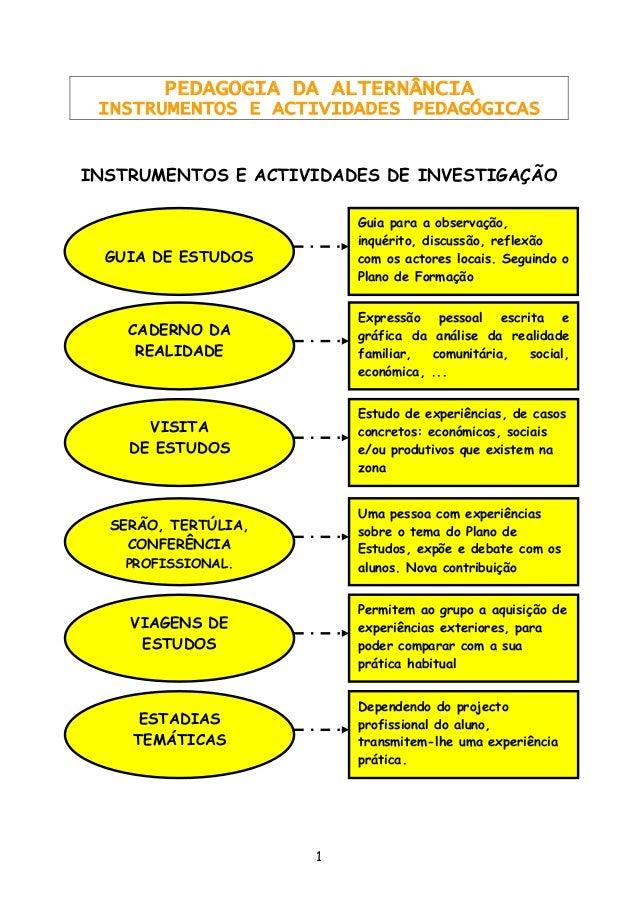 1  PEDAGOGIA DA ALTERNÂNCIA  INSTRUMENTOS E ACTIVIDADES PEDAGÓGICAS  INSTRUMENTOS E ACTIVIDADES DE INVESTIGAÇÃO  GUIA DE E...