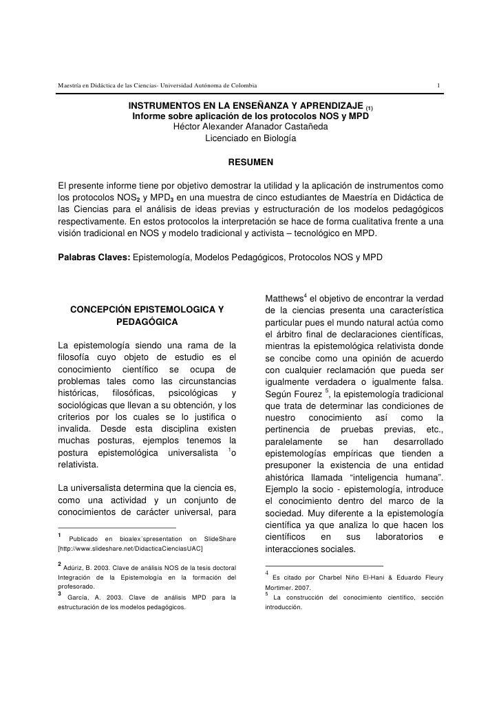 Maestría en Didáctica de las Ciencias- Universidad Autónoma de Colombia                                                   ...