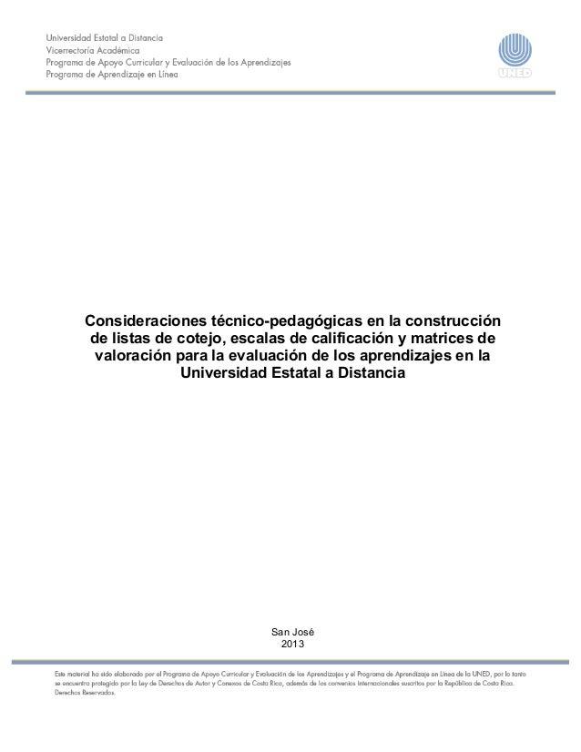 Consideraciones técnico-pedagógicas en la construcción de listas de cotejo, escalas de calificación y ma...