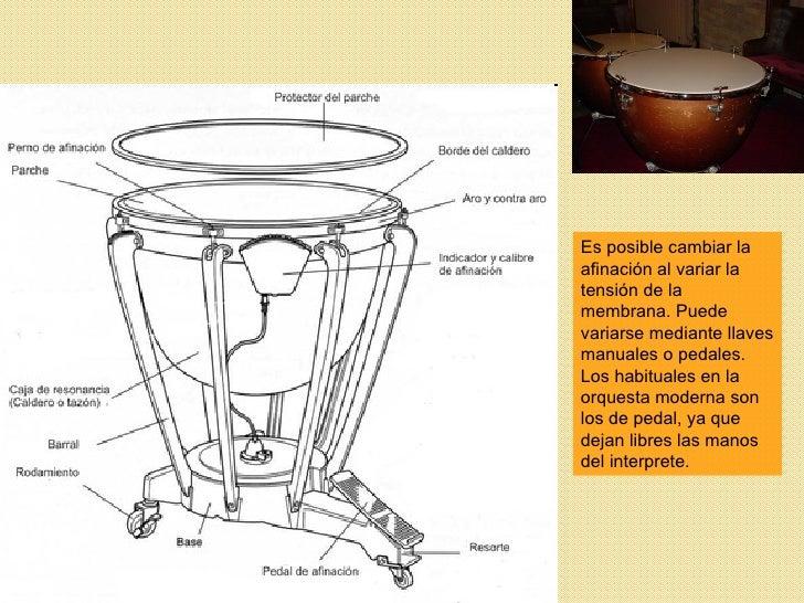 Es posible cambiar la afinación al variar la tensión de la membrana. Puede variarse mediante llaves manuales o pedales. Lo...