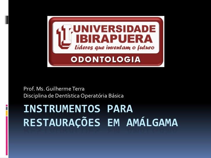 Prof. Ms. Guilherme TerraDisciplina de Dentística Operatória BásicaINSTRUMENTOS PARARESTAURAÇÕES EM AMÁLGAMA