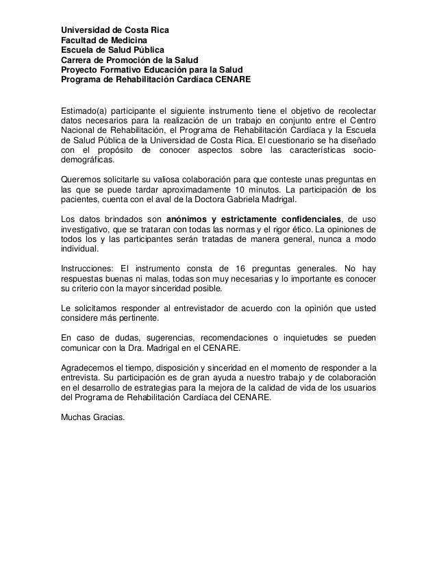 Universidad de Costa Rica Facultad de Medicina Escuela de Salud Pública Carrera de Promoción de la Salud Proyecto Formativ...