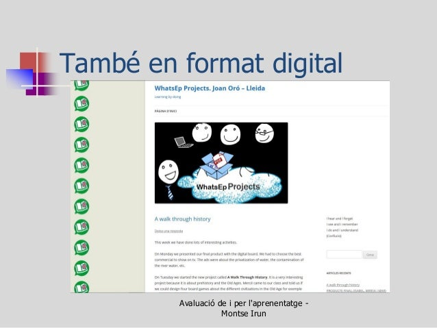 També en format digital  Avaluació de i per l'aprenentatge - Montse Irun