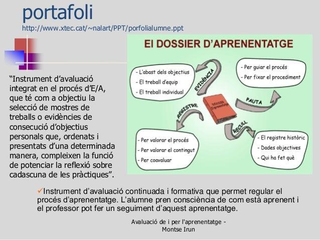 """portafoli http://www.xtec.cat/~nalart/PPT/porfolialumne.ppt  """"Instrument d'avaluació integrat en el procés d'E/A, que té c..."""