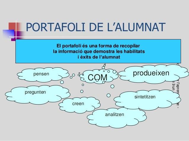 PORTAFOLI DE L'ALUMNAT  Avaluació de i per l'aprenentatge - Montse Irun  El portafoli és una forma de recopilar la informa...