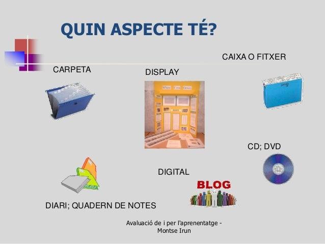 QUIN ASPECTE TÉ?  Avaluació de i per l'aprenentatge - Montse Irun  CARPETA  DISPLAY  CAIXA O FITXER  DIARI; QUADERN DE NOT...