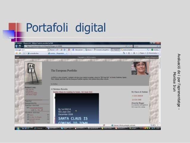 Portafoli digital  Avaluació de i per l'aprenentatge - Montse Irun
