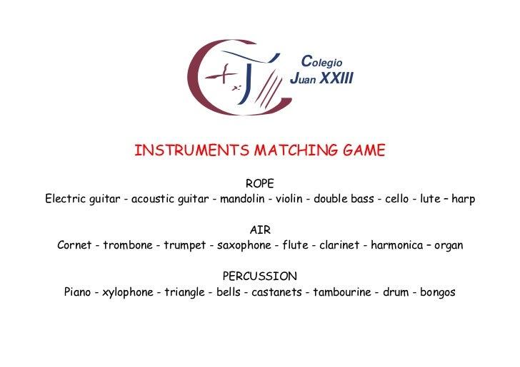 Colegio                                                  Juan XXIII                  INSTRUMENTS MATCHING GAME            ...