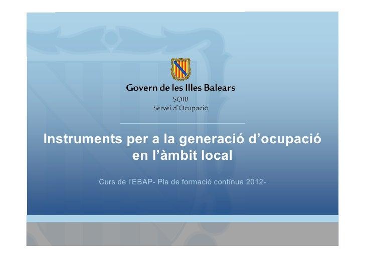 Instruments per a la generació d'ocupació             en l'àmbit local        Curs de l'EBAP- Pla de formació contínua 2012-