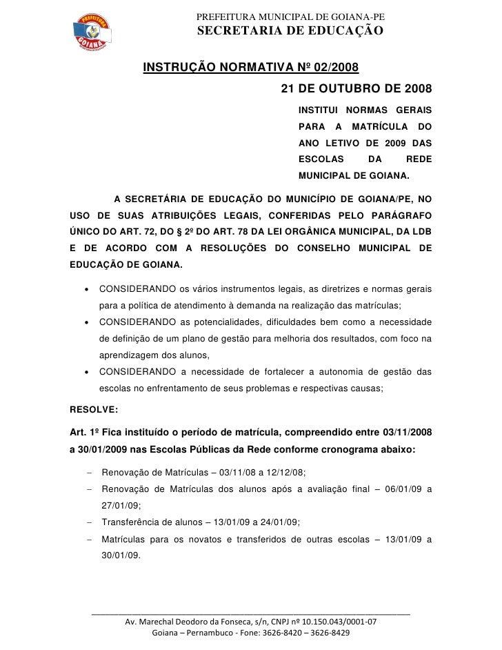 PREFEITURA MUNICIPAL DE GOIANA-PE                                SECRETARIA DE EDUCAÇÃO                       INSTRUÇÃO NO...