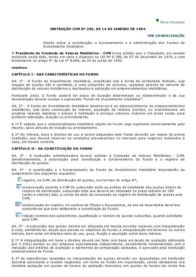 Nova Pesquisa                      INSTRUÇÃO CVM Nº 205, DE 14 DE JANEIRO DE 1994.                                        ...