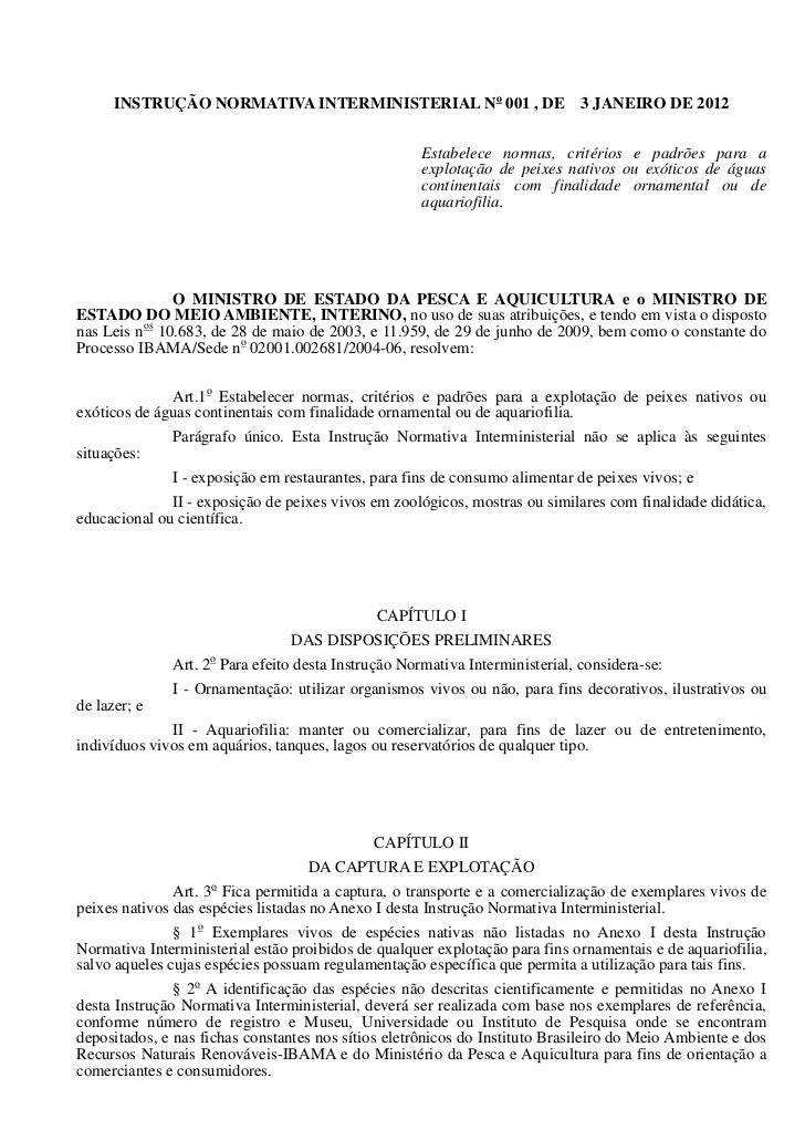INSTRUÇÃO NORMATIVA INTERMINISTERIAL No 001 , DE                       3 JANEIRO DE 2012                                  ...
