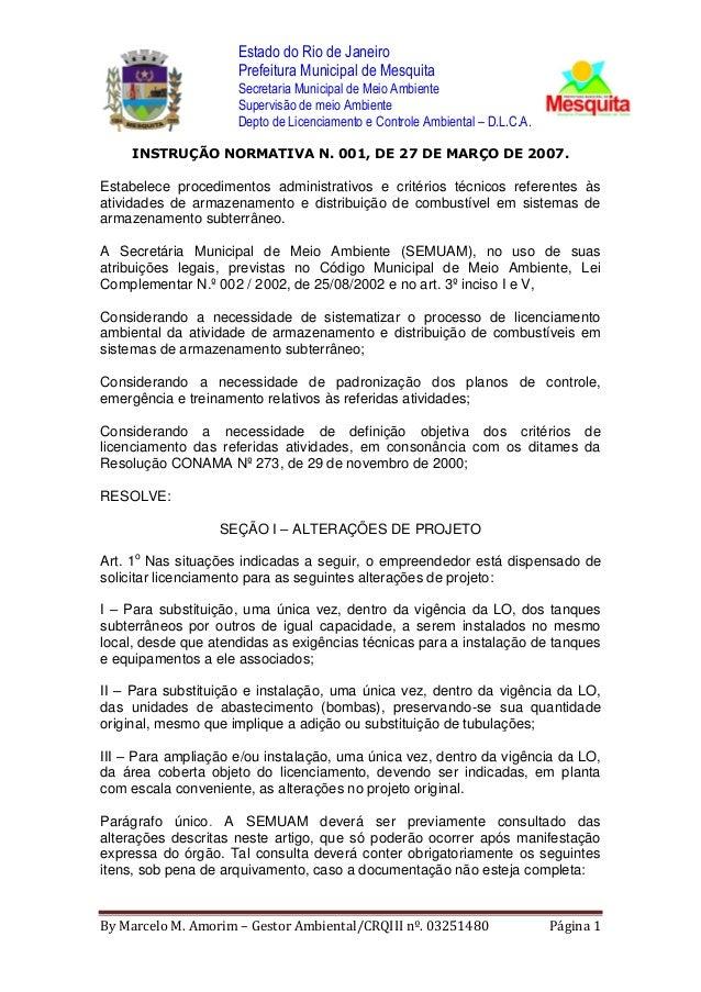 Estado do Rio de Janeiro Prefeitura Municipal de Mesquita Secretaria Municipal de Meio Ambiente Supervisão de meio Ambient...