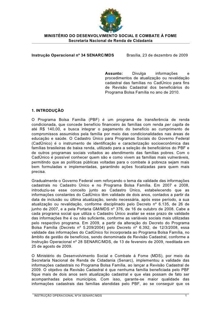 MINISTÉRIO DO DESENVOLVIMENTO SOCIAL E COMBATE À FOME                 Secretaria Nacional de Renda de Cidadania   Instruçã...