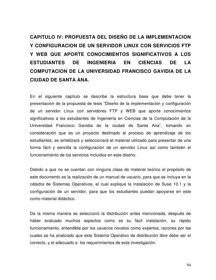 CAPITULO IV: PROPUESTA DEL DISEÑO DE LA IMPLEMENTACIONY CONFIGURACION DE UN SERVIDOR LINUX CON SERVICIOS FTPY WEB QUE APOR...