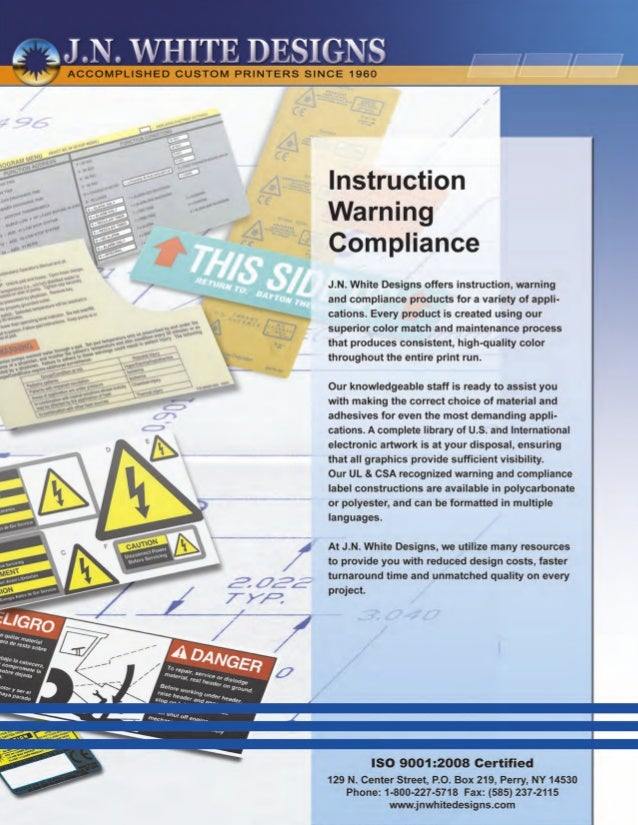 Instruction warning compliance labels