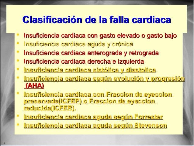 Clasificación de la falla cardiacaClasificación de la falla cardiaca  Insuficiencia cardiaca con gasto elevado o gasto ba...