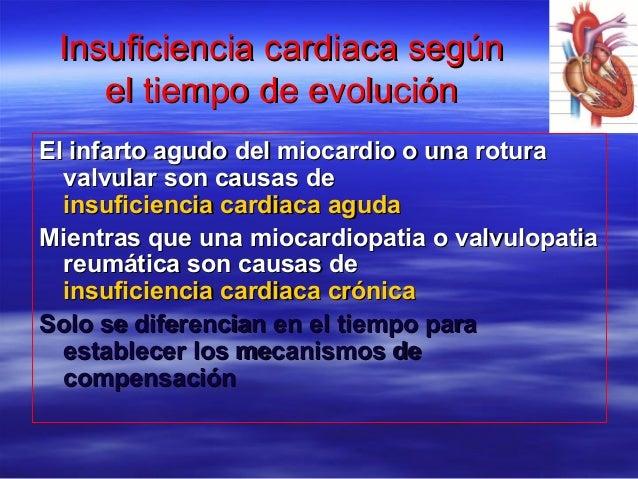 Insuficiencia cardiaca segúnInsuficiencia cardiaca según el tiempo de evoluciónel tiempo de evolución El infarto agudo del...