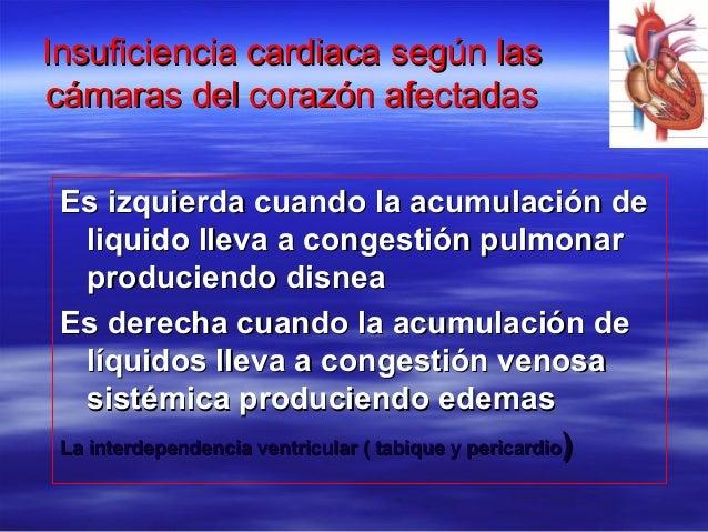 Insuficiencia cardiaca según lasInsuficiencia cardiaca según las cámaras del corazón afectadascámaras del corazón afectada...