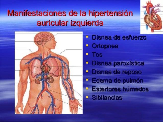 Manifestaciones de la hipertensiónManifestaciones de la hipertensión auricular izquierdaauricular izquierda  Disnea de es...