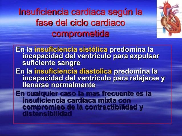 Insuficiencia cardiaca según laInsuficiencia cardiaca según la fase del ciclo cardiacofase del ciclo cardiaco comprometida...