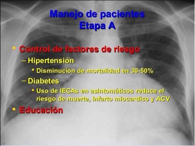 Jessup,M.Brozena,S.Heart failure.NEJM.Mayo 15,2003 Manejo de pacientesManejo de pacientes Etapa AEtapa A  Control de fact...