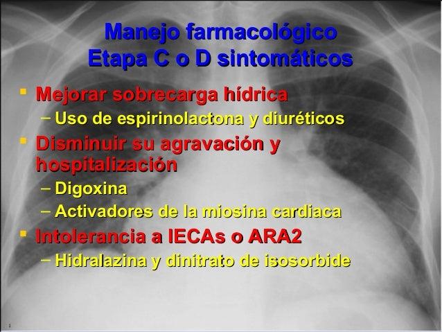 Jessup,M.Brozena,S.Heart failure.NEJM.Mayo 15,2003 Manejo farmacológicoManejo farmacológico Etapa C o D sintomáticosEtapa ...