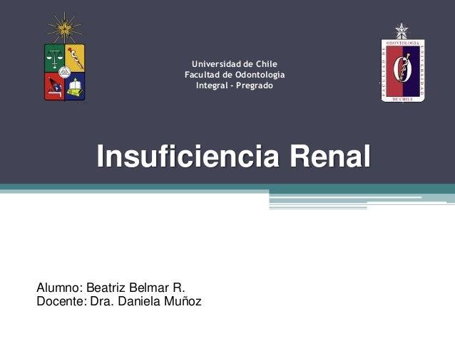 Insuficiencia RenalUniversidad de ChileFacultad de OdontologíaIntegral - PregradoAlumno: Beatriz Belmar R.Docente: Dra. Da...