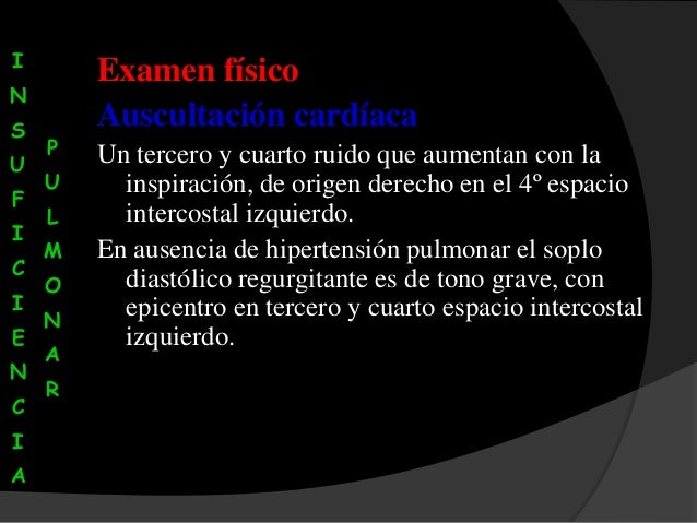 Insuficiencia valvular pulmonar for Cuarto espacio intercostal