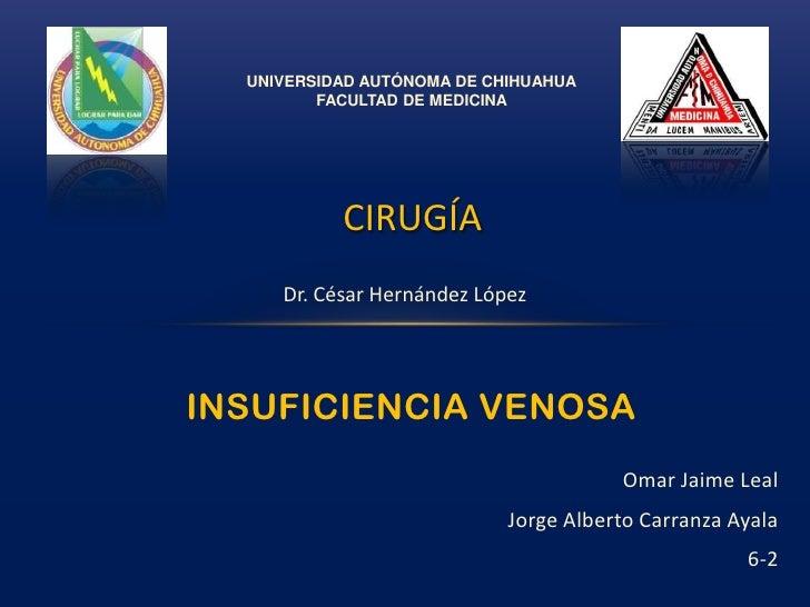 UNIVERSIDAD AUTÓNOMA DE CHIHUAHUA<br />FACULTAD DE MEDICINA<br />CIRUGÍA<br />Dr. César Hernández López<br />INSUFICIENCIA...