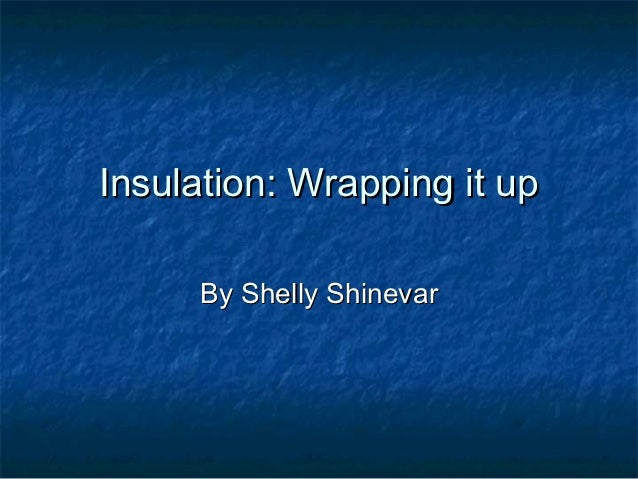 Insulation: Wrapping it up     By Shelly Shinevar
