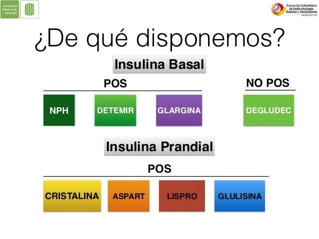 ¿De qué disponemos? NPH DETEMIR GLARGINA DEGLUDEC Insulina Basal POS NO POS Insulina Prandial CRISTALINA ASPART LISPRO POS...
