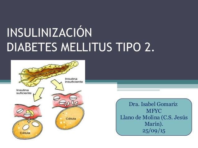 INSULINIZACIÓN DIABETES MELLITUS TIPO 2. Dra. Isabel Gomariz MFYC Llano de Molina (C.S. Jesús Marín). 25/09/15