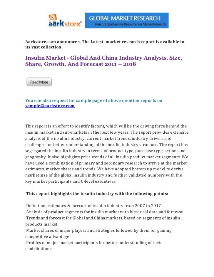 Aarkstore.com announces, The Latest market research report is available inits vast collection:Insulin Market - Global And ...