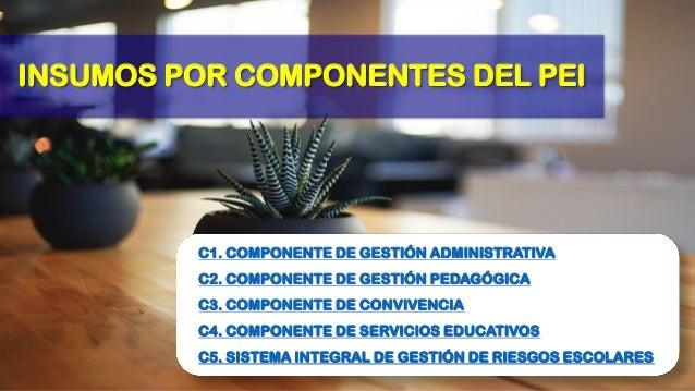 INSUMOS POR COMPONENTES DEL PEI C1. COMPONENTE DE GESTIÓN ADMINISTRATIVA C2. COMPONENTE DE GESTIÓN PEDAGÓGICA C3. COMPONEN...