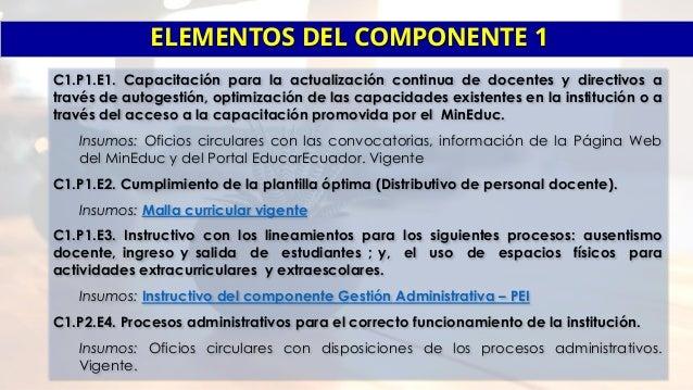 Insumos por componentes del PEI 2017 Slide 2
