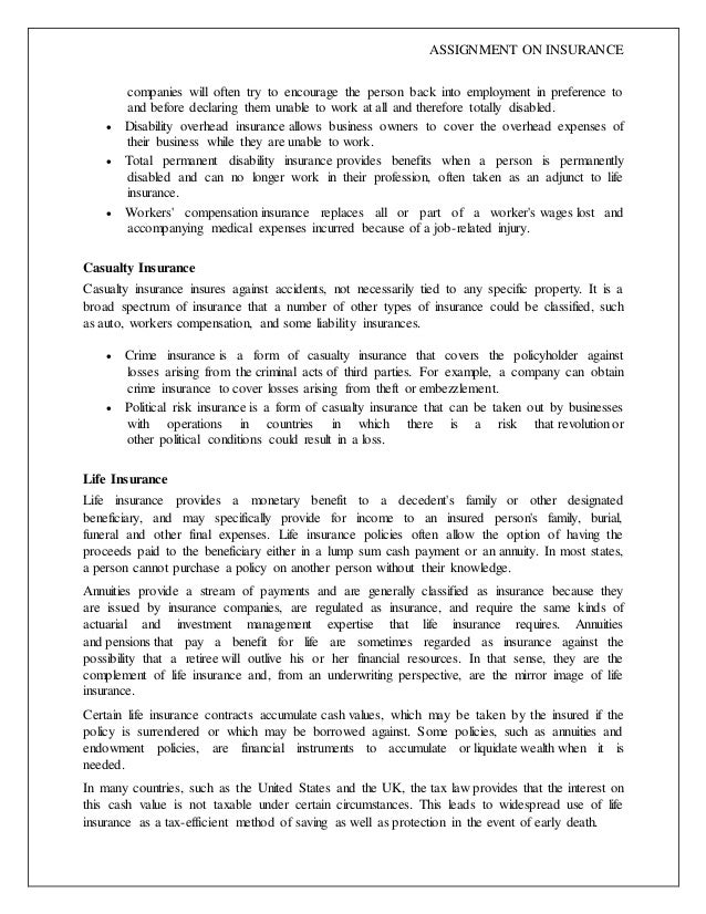 Project report on Insurance